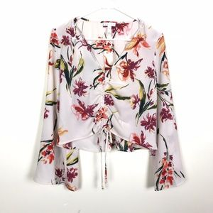 NWT Leith Crop Top Bell Sleeve 70s floral sz M